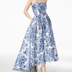 Best and Adam Blue Brocade Ball Gown